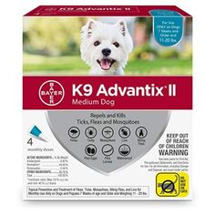 Bayer Advantix II Flea, Tick and Mosquito Prevention for Medium Dogs, 11 - 20 lb, 4 doses -- Find out more about the great product at the image link. (This is an affiliate link) Flea Treatment, Spot Treatment, Medium Sized Dogs, Medium Dogs, Tick Control For Dogs, Rocky Mountain Spotted Fever, Dog Words, Sick Dog