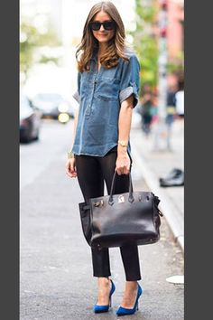 Camisa vaquera, pantalon tobillero negro