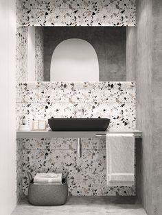 terrazzo and concrete bathroom design, contemporary small bathroom design Bathroom Tile Designs, Diy Bathroom Decor, Bathroom Interior Design, Home Interior, Decor Interior Design, Bathroom Ideas, Small Bathroom, Modern Bathroom, Modern Vanity