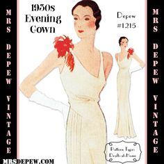 1930s #1215 Evening Gown Pattern in Any Size (1933)