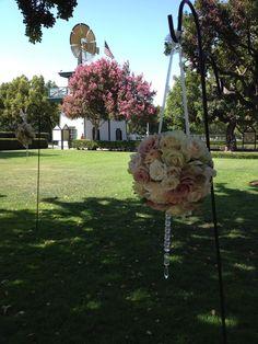 Vintage outdoor floral on hook at Heritage Park wedding