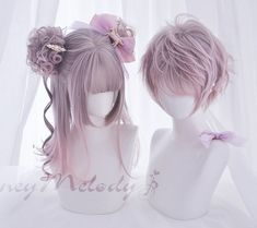 Kawaii Hairstyles, Pretty Hairstyles, Wig Hairstyles, Short Hairstyle, Anime Wigs, Anime Hair, Wig Styles, Long Hair Styles, Pastel Wig
