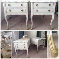 Twin Queen Anne side tables dipped in gold. Available at Lee.Marie Antiqued Furniture on Facebook