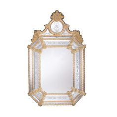 Murano Venetian Octagonal Mirror with Gold Border and Motif – English Georgian America