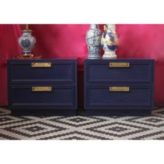 Pair of Campaign Nightstands Lacquered in Glossy Dark Navy Ready to... ($475) ❤ liked on Polyvore featuring bedroom furniture, dressers & armoires, furniture, grey and home & living
