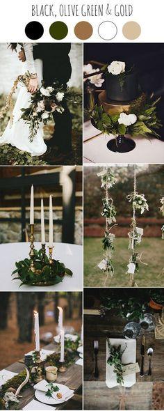 black, gold and greenery dark moody wedding ideas