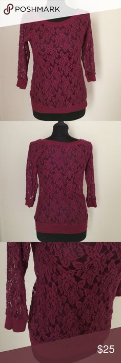 "✨HP✨10.27  Express Lace Top Burgundy express lace top with banded hem and sleeves. ""See-through"" lace Express Tops"
