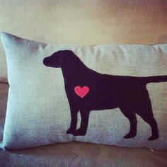 Chocolate Lab Love Applique Pillow