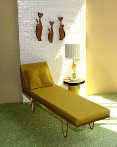 Incredible mid century MOD avocado green vintage chaise lounge