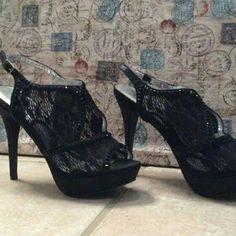 Black Lace Heels Deb brand heels. Brand new, never worn. 5 inch heel. Deb Shoes Heels