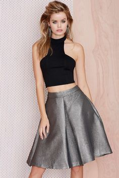 Rise and Shine Metallic Midi Skirt