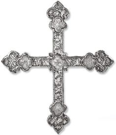 IMAGE: An early Spanish silver processional cross, Burgos, late 15th century, deeply chased with Gothic foliage, the shaped terminals set with quatrefoil medallions