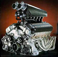 BMW V12 engine used in the McLaren F1  627hp 6.1 liter, 48 valve, aluminum block and heads,   Displacement-370 cubic in, 6064 cc  Compression ratio-10.5:1