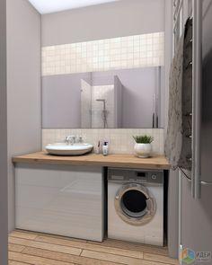 Интерьер ванной, стиральная машина под столешницей, деревянная столешница
