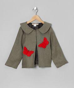 Khaki Butterfly Linen Jacket