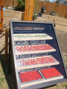Beautifully designed and built solar dehydrator.  Full plans and photos at www.raintogreen.com.