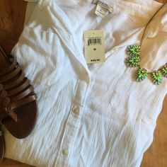 """NWT Lucky Brand sheer button-down Brand new with tags! Sheer white button-down from Lucky Brand. Size medium. Back of the shirt is slightly longer then the front. Fabric is super soft!  55% cotton 45% rayon  Bust: 21"""" Length: 25"""" Lucky Brand Tops Button Down Shirts"""