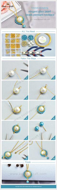 Beebeecraft tutorials on making elegant glasspearl beads pendant necklace Bead Jewellery, Wire Jewelry, Jewelry Crafts, Jewelery, Handmade Jewelry, Jewelry Necklaces, Diy Necklace, Beaded Earrings, Beaded Bracelets