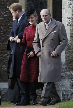 Prince Henry of Wales, Countess of Wessex and Duke of Edinburgh on Christmas Day 2016 at Sandringham.