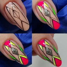 Embellishing your nails can be a lot of fun. It will make a fashion statement. Creative Nail Designs, Nail Art Designs, Nail Art Diy, Diy Nails, Aztec Nails, Chevron Nails, Self Nail, Line Nail Art, Geometric Nail