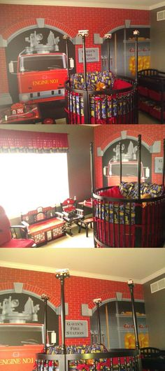 Fire Station-Themed Baby Nursery | Shared by LION- so so cute! I know a Future Grandpa that would LOVE this.
