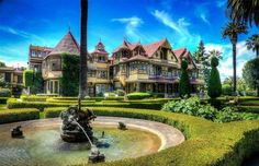 WINCHESTER MYSTERY HOUSE, SAN JOSE, CA: A 7 story mansion with 160 rooms (including 40 bedrooms), two ballrooms, 47 fireplaces, more than 10,000 panes of glass, two basements, and three elevators. It is currently open for tours, with tickets starting at $26 per person.