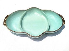 Vintage Fire King Turquoise Divided Relish Pickle Candy Dish with Gold Trim