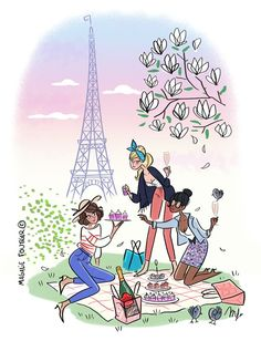 Tour Eiffel & Cupcakes Art Print Brown black queens girl in Paris tower Illustration Parisienne, Art Et Illustration, Tour Eiffel, Paris Girl, French Art, Oeuvre D'art, Belle Photo, Cute Drawings, Female Art