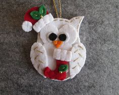 Felt Christmas ornament Felt Owl ornament by TinyFeltHeart on Etsy Fabric Christmas Ornaments, Christmas Bird, Christmas Items, Felt Ornaments, How To Make Ornaments, Christmas Crafts, Handmade Christmas, Woodland Christmas, Owl Ornament