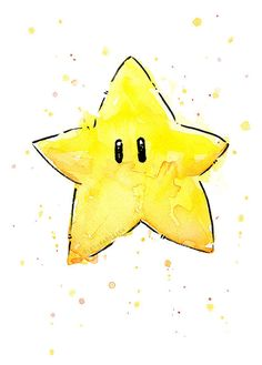 Mario Invincibility Star Watercolor Art Print, Geek Videogame Nintendo Supermario Decor