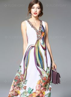Dresses - $69.53 - Cotton Polyester Floral Sleeveless Mid-Calf Vintage Dresses (1955103027)