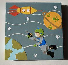 Original Retro Modern Collage Art on Canvas - Astronaut - 10x10. $60.00, via Etsy.
