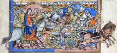 The Morgan Bible (Deborah on horseback leading her forces against the enemy), France (Paris?) circa 1240's-50's