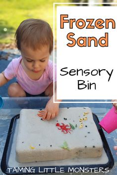 Have you ever tried hiding toys inside frozen sand? This easy sensory activity is perfect for summer. The kids will love melting the sand with water in this fun and easy play idea for babies, toddlers, and preschoolers. Sensory Tubs, Sensory Rooms, Baby Sensory, Sensory Play For Babies, Baby Room Activities, Infant Activities, Activities For Kids, Activity Ideas, Outdoor Activities
