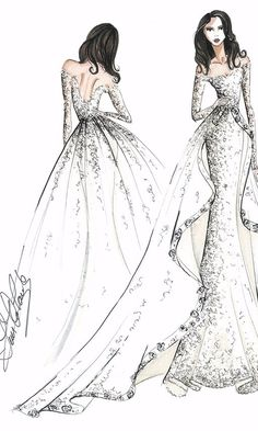 Tendance Robe du mariée 17 Designers Sketched What They Think Meghan Markle& Wedding Dress Will Loo. Wedding Dress Sketches, Dress Design Sketches, Fashion Design Sketchbook, Fashion Design Drawings, Designer Wedding Dresses, Fashion Sketches, Fashion Design Portfolio, Drawing Fashion, Bridal Dresses 2017