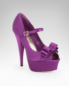 Purple Satin Peep-toe Platform Mary Jane