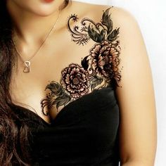 Black Lace & Flowers   Breast And Shoulder Tattoo. If only the flowers were sunflowers