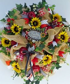 Country Charm Faux Burlap Deco Mesh Wreath with Rooster Sign, Sunflowers, Apples, Apple Blossoms, Fun Ribbons on Etsy, $159.97