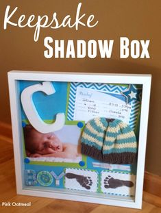 Keepsake shadow box.  Perfect way to display keepsakes in the nursery! -Pink Oatmeal