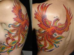 Colored Flying Phoenix Back Tattoo : Back Tattoos Phoenix Tattoo Sleeve, Rising Phoenix Tattoo, Phoenix Tattoo For Men, Phoenix Tattoo Design, Phoenix Tattoos, Back Tattoos, Sleeve Tattoos, Tatoos, Tattoo You