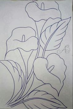 Lilies Drawing, Calla Lilies, Pencil Art Drawings, Stained Glass Patterns, Fabric Painting, Watercolor Painting, Paint Designs, Paper Flowers, Draw Flowers