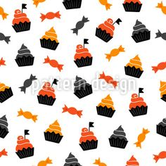 Halloween Candies And Cupcakes Design Pattern Vector Pattern, Pattern Design, Cupcakes Design, Halloween Vector, Surface Design, Candies, Patterns, Block Prints, Pattern