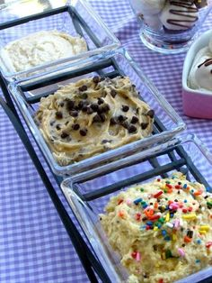 three safe-to-eat dips: chocolate chip cookie dough, sugar cookie dough, and cake batter. perfect for showers or cookouts!
