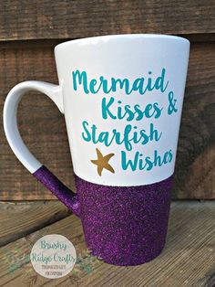 Hand Glitter Coffee Mug Mermaid Kisses & by BrushyRidgeCrafts