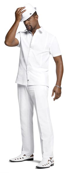 Unlike an all black outfit, an all white outfit simply does not work. Needs a pop of color, red or pink.