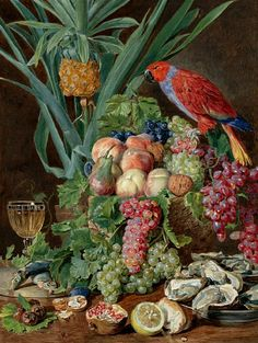 Ferdinand Georg Waldmüller Still Life with Fruit and Parrot 1831