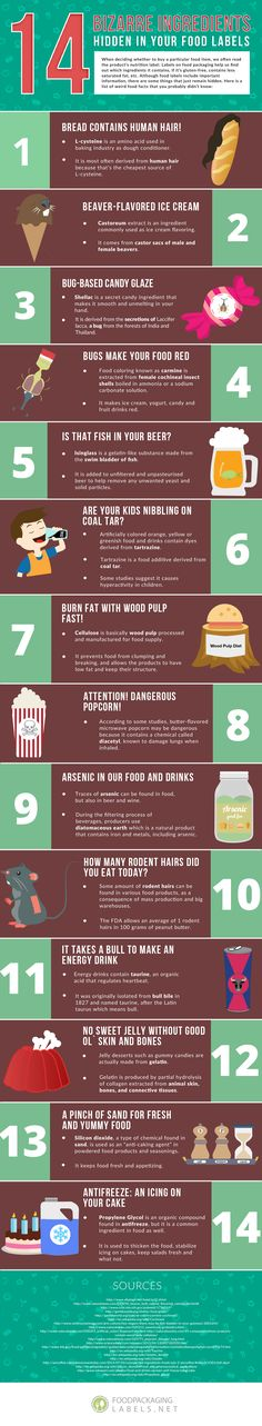 [Infographic] 14 Bizarre Ingredients Hidden in Your Food Labels | THE GASTRONOMY AFICIONADO
