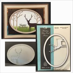 Standing Deer Oval Frame metal cutting die by InspirationStationMI