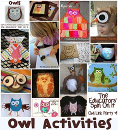 (**Look at the Owl Apron!**) Tons of Owl Crafts & Activities at The Educators' Spin On It {Come Link Up your Owl Fun} Autumn Activities For Kids, Craft Activities For Kids, Crafts For Kids, Preschool Ideas, Fall Preschool, Preschool Letters, Activity Ideas, Preschool Crafts, Owl Theme Classroom