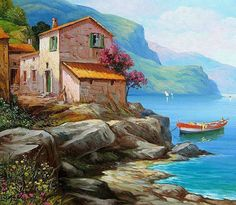 Facebook Boat Painting, Artist Painting, Seascape Paintings, Landscape Paintings, Pictures To Paint, Art Pictures, Watercolor Landscape, Watercolor Paintings, Picture Borders